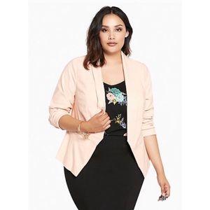 Torrid Cutaway Open Front Blazer Blush Pink